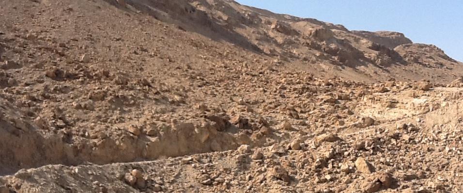 Track down cliff to the Dead Sea.