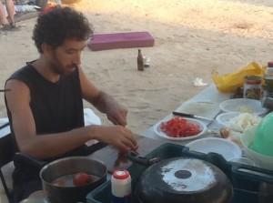 Ran preparing breakfast.