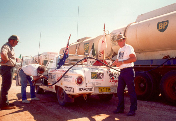 Refuelling the ute.