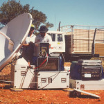 Satellite equipment for live outside broadcast back to Channel Seven.
