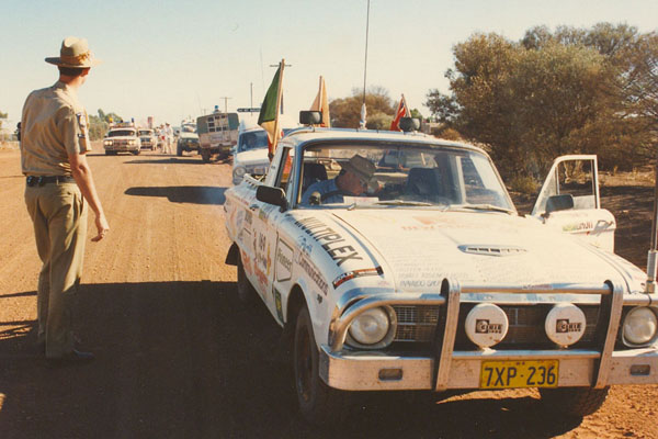 Start of the procession into Kalgoorlie for the finish of the Bash.
