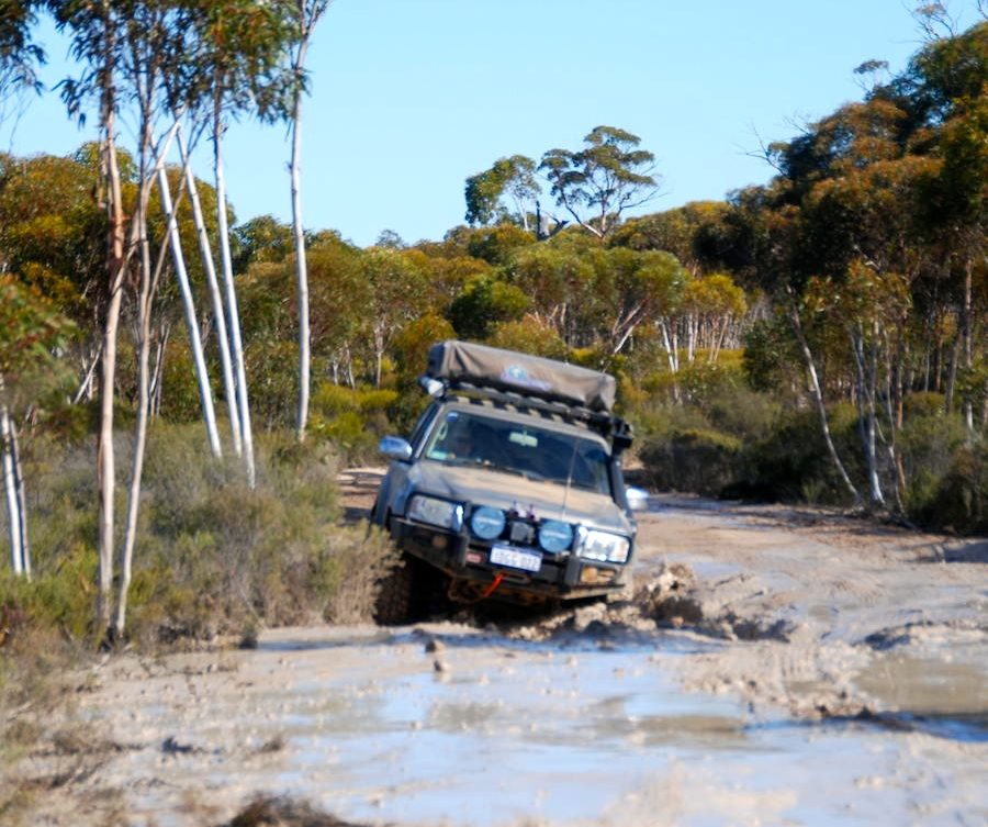 Ewen tackled this bog hole in 2WD.