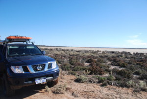 Kim in the Navara at Lake Carmody.