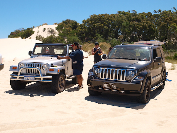 Mike with his Wrangler and James with Nick's Cherokee.