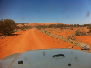 The start of red sand country.