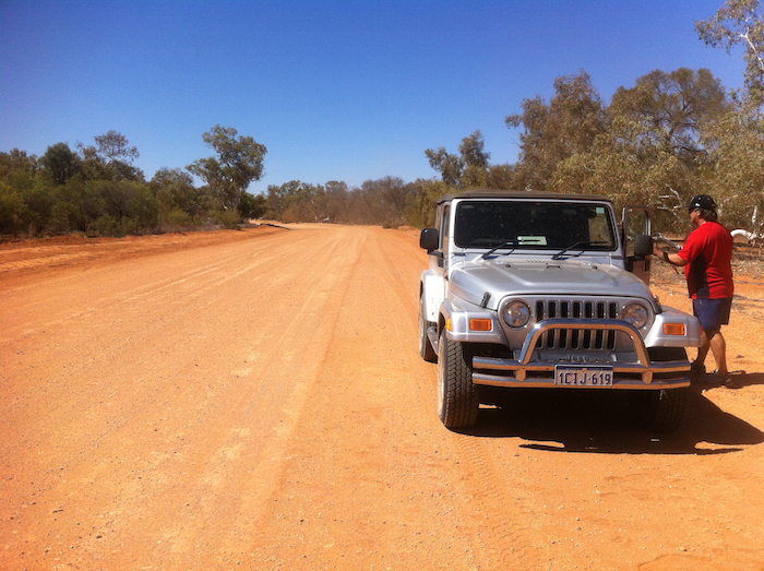 Mike parked in the Gascoyne River.