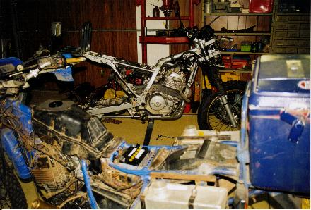 Tenere and Dominator in George's workshop.