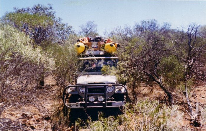 Tony drove the Landcruiser through the bush back to The Bus.