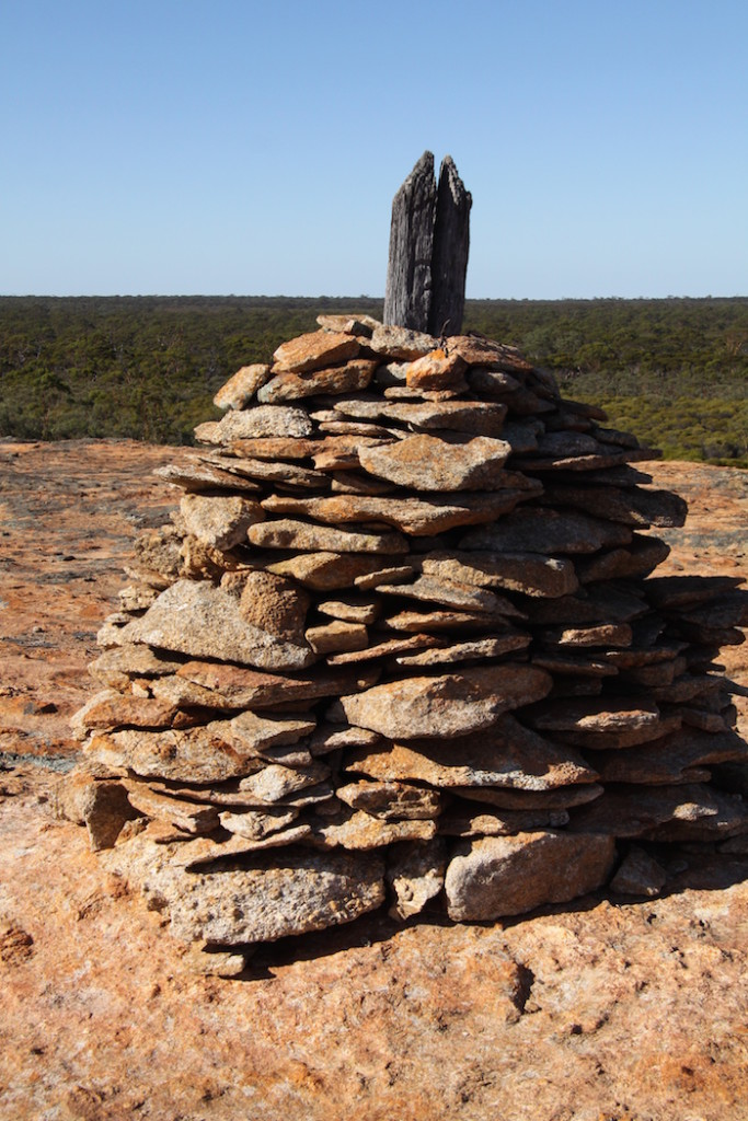 Cairn on the summit of Yerdanie Rock.