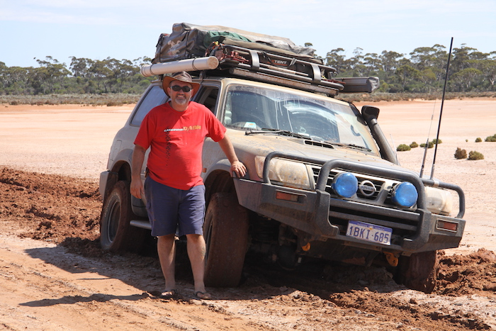 Dusty with his bogged Patrol.