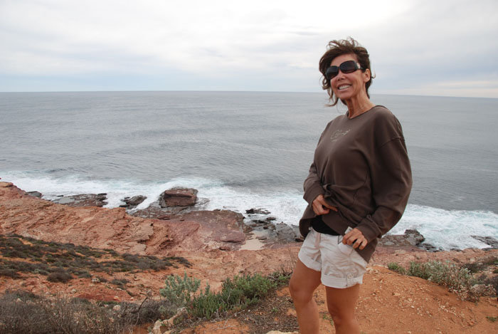 Tammy on a blustery day at the Kalbarri Coastal Cliffs.