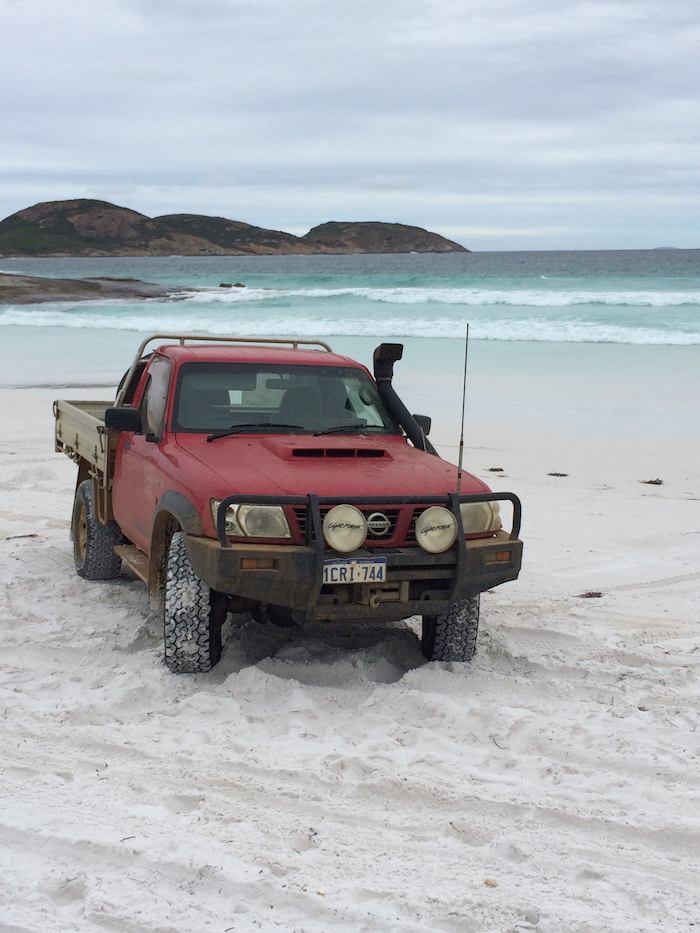 Fish's ute at Lucky Bay.