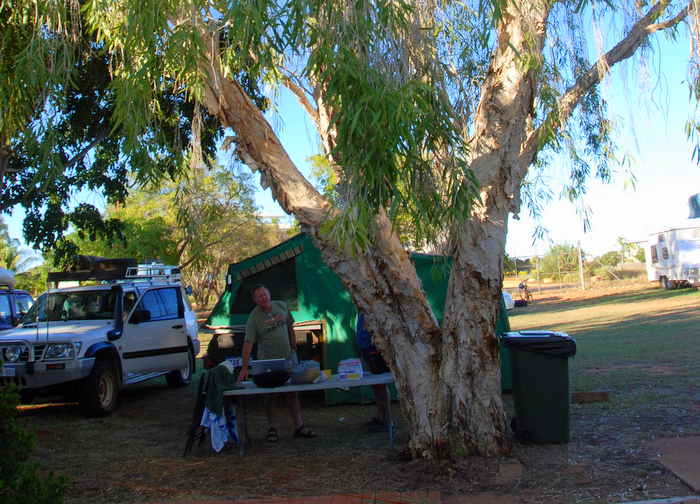 Our camp at Broome. The caravan park was full so we were accommodated at the 'overflow' at the Police and Citizens Youth Centre complex.