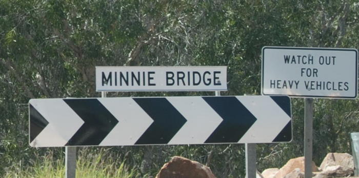 Minnie Bridge over the Minnie River, an anabranch of the Fitzroy.