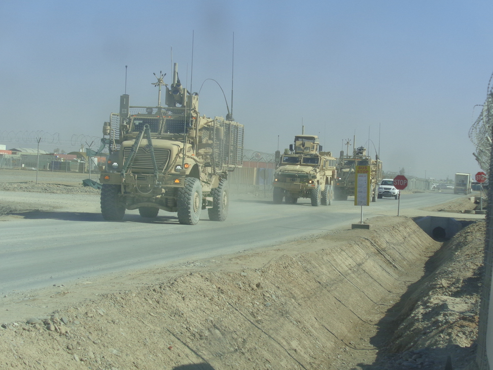 MRAPS going on patrol.