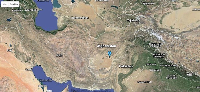 Map of Afghanistan and surrounding countries, showing Kandahar.
