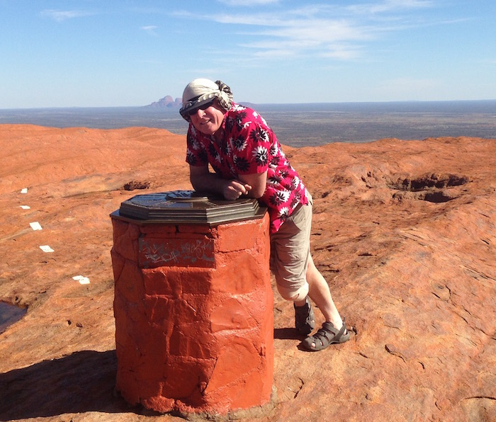 Kim on top of Uluru.