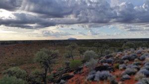Uluru with clouds