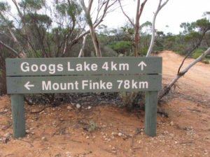 Googs Lake is four kilometres off the track.