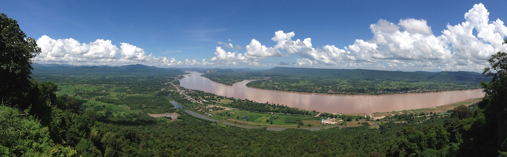 Panorama of Laos and Thailand.