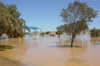 Low lying areas by the river in Kalbarri were flooded.