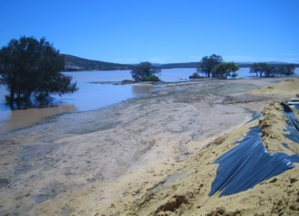 Temporary levee bank in Kalbarri.