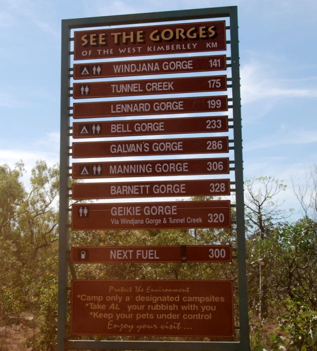 We did them all except Geikie Gorge which is accessed via Highway 1.