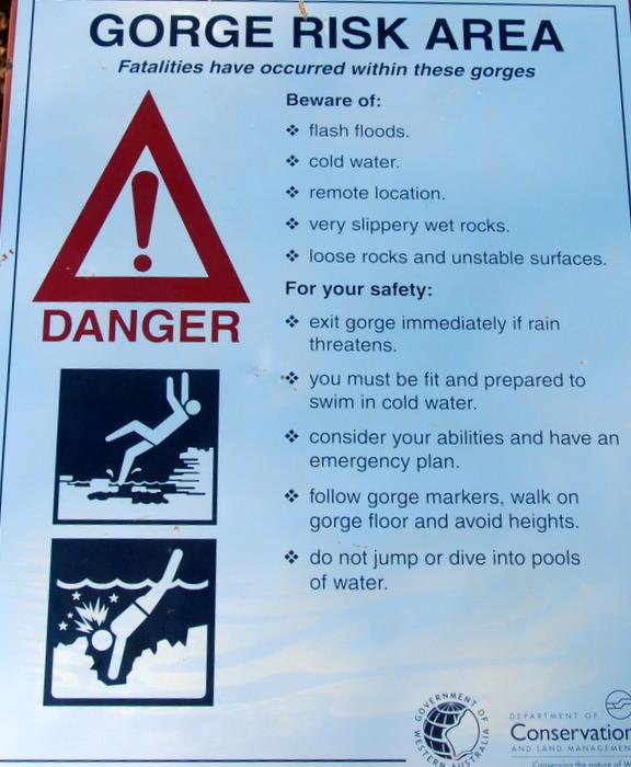 Gorge Risk sign