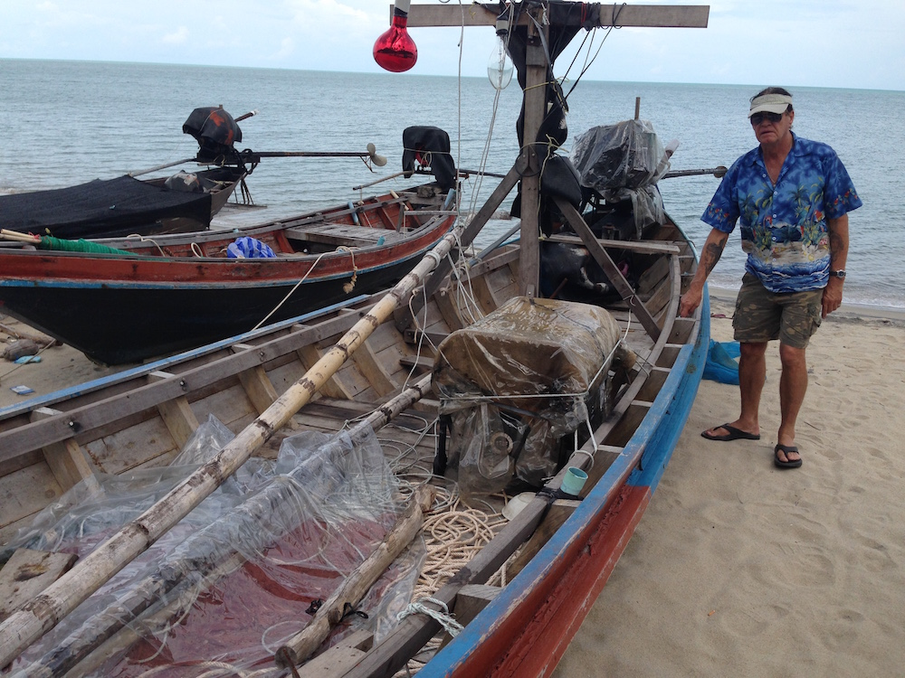 Ron with fishing boats at Khanom.