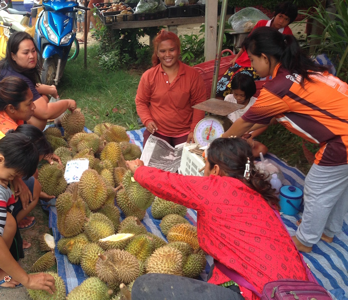 Selling durian at Sam Roi Yot Markets.