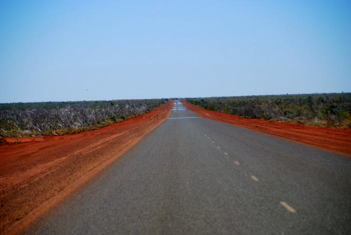 The long road north across the Roebuck Plains.