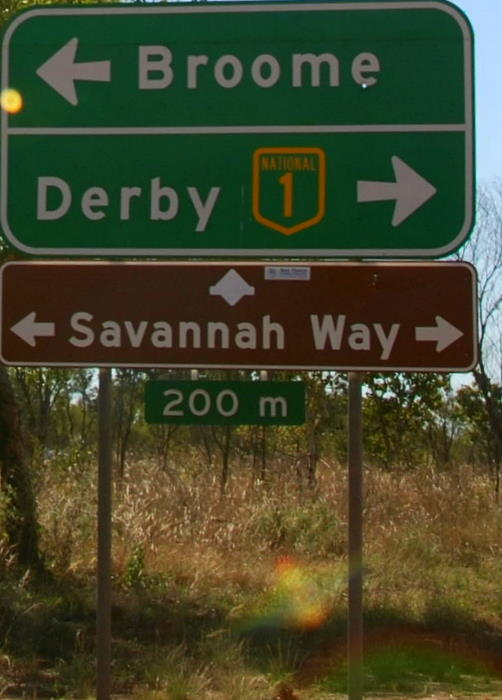 The road between Broome and Derby is known as the Savannah Way.
