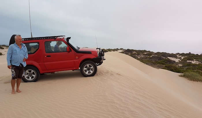 Scott on dune overlooking Hutt Lagoon.