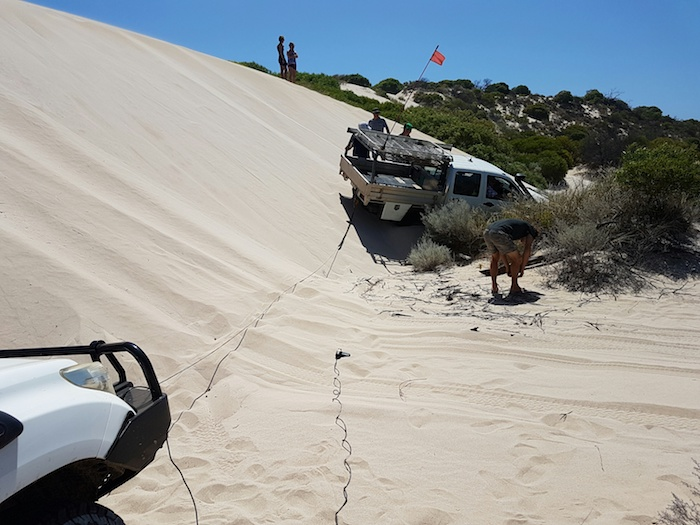 Dan winched the rear of the Rodeo around to straighten it prior to winching it forward.