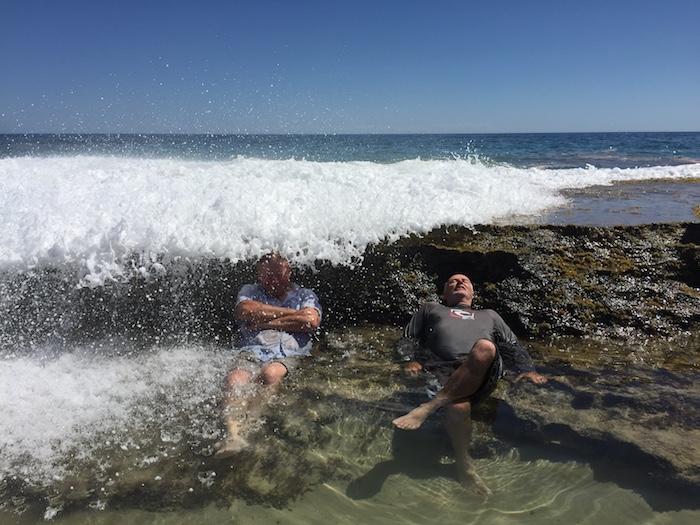 Kim and Scott get a 'breaking surf water massage'.