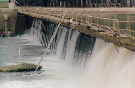 Engineers working on the weir.