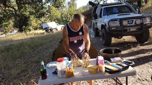 Joe making damper for the Community Dinner.
