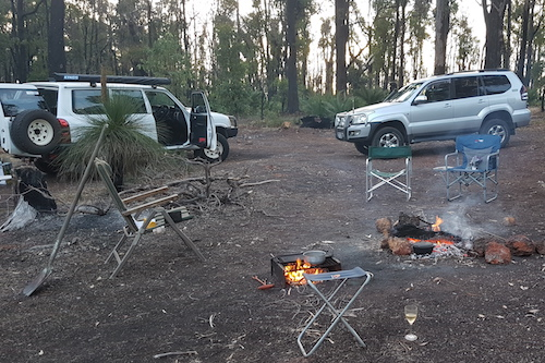 Our campsite in the jarrah forrest.
