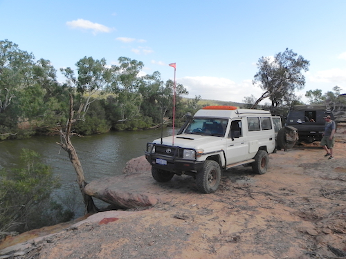 Brad and Jane's Toyota at our camp at Wilgamia Pool