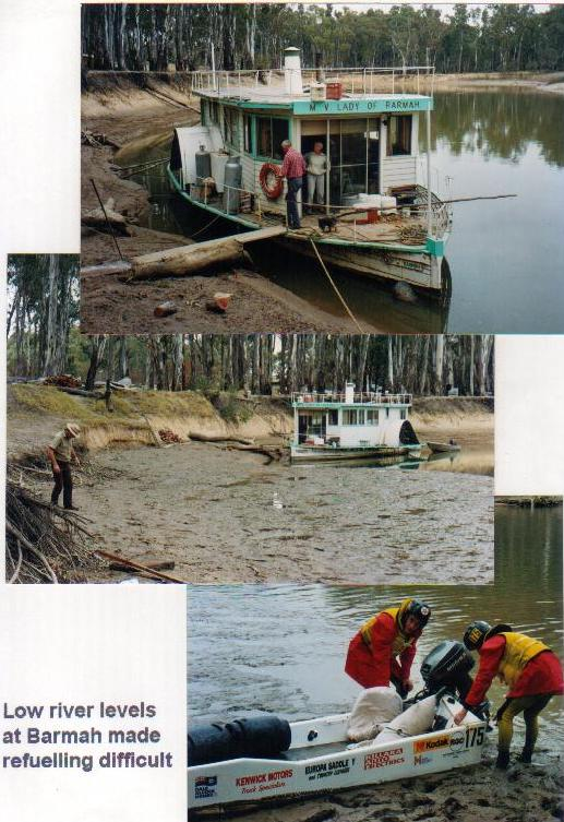 Low water level at Barmah made refuelling difficult