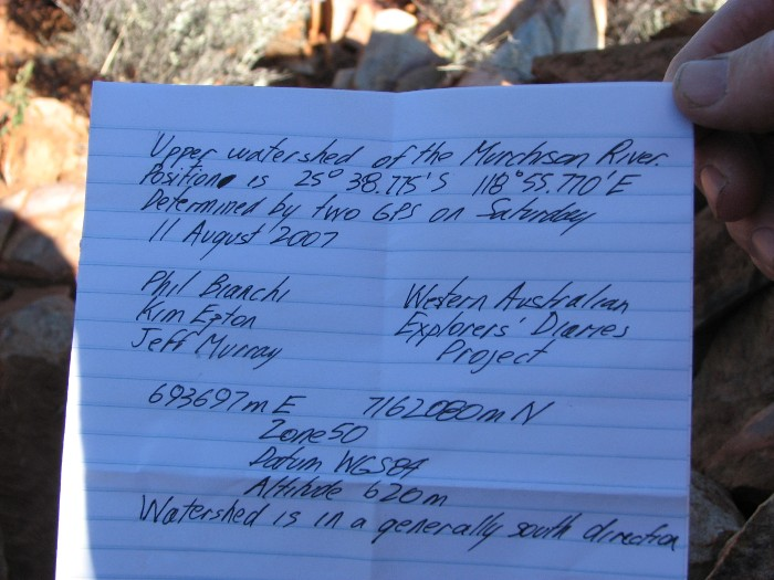 Note left at cairn.