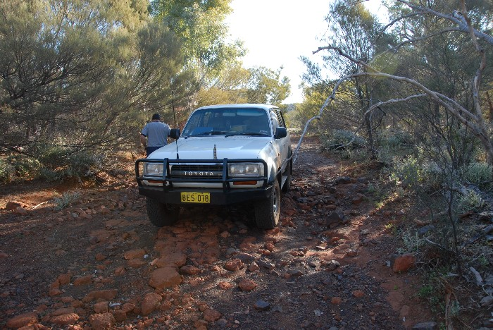 Phil's Landcruiser in the river bed.
