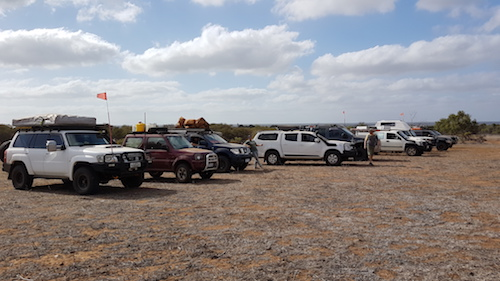 Vehicle lineup at Gie Gee Outcamp.