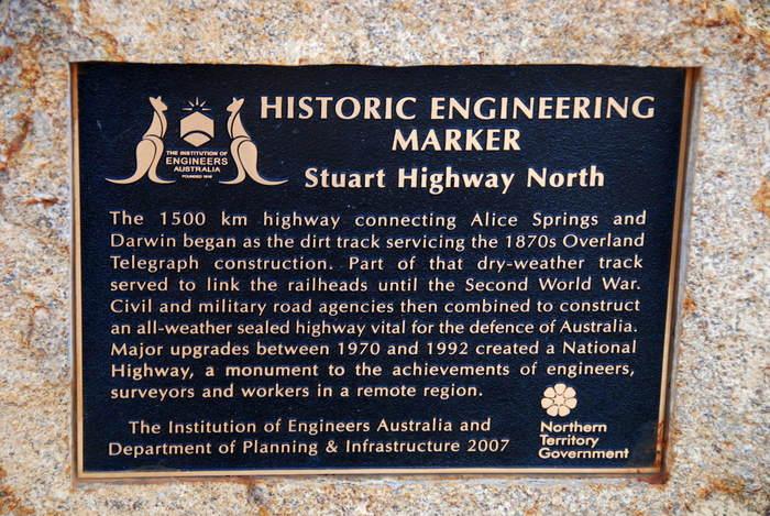 Stuart Highway marker.