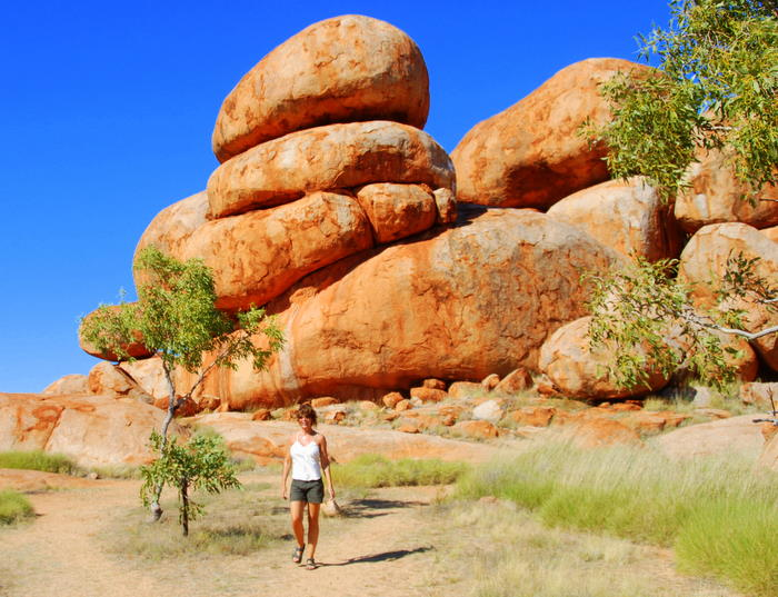 Tammy walking out of Devils Marbles.