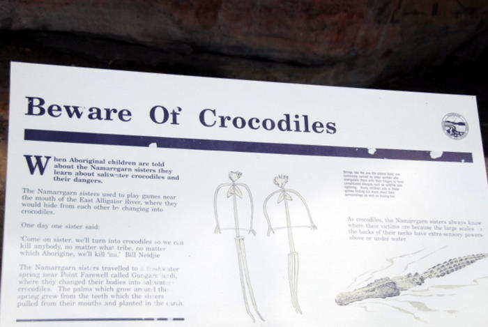 Beware of crocodiles.