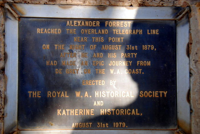 The plaque at the Forrest memorial, 40 km south of Larrimah.