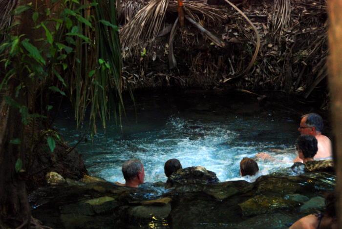 In hot spring