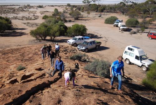Climbing Baladgie Rock.