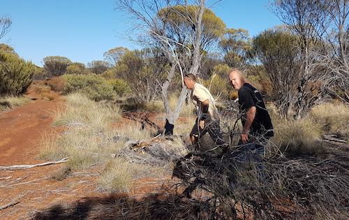 Joe and Scott clearing track.